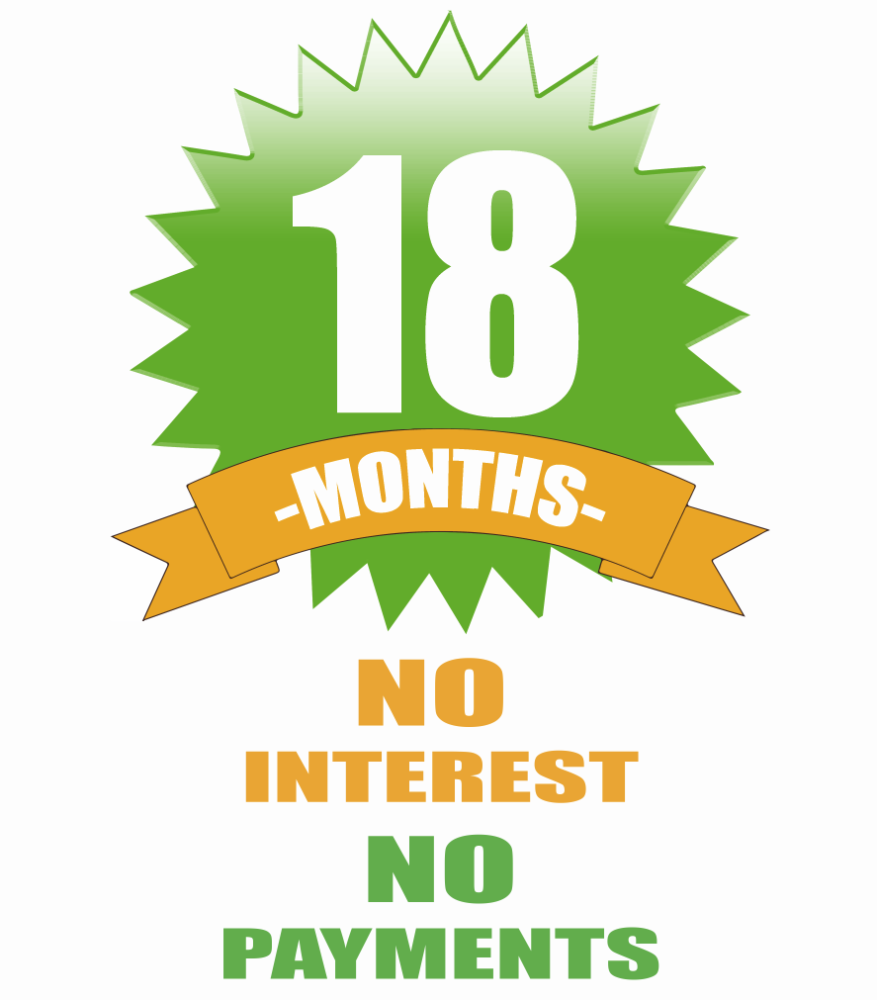 Zero Down Payment, Zero Payments, and Zero Interest for 18 Months