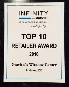 Top National Dealer for Infinity Windows from Marvin