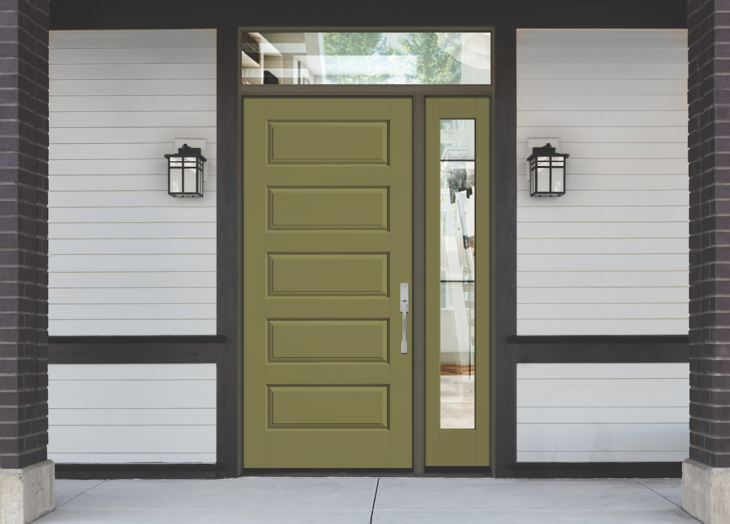 Classic Craft Canvas Collection Entry Door U2013 CCV050; Low E Glass, Sidelite  U2013 CCV100SL, Transom U2013 19220T. Therma Tru Fiberglass Entry Doors
