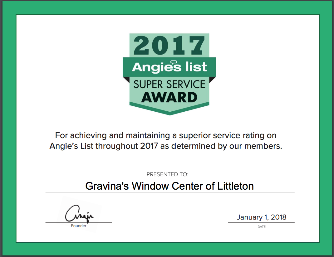 Gravina's Window Center of Littleton is the winner of the 2018 Angie's List Super Service Award